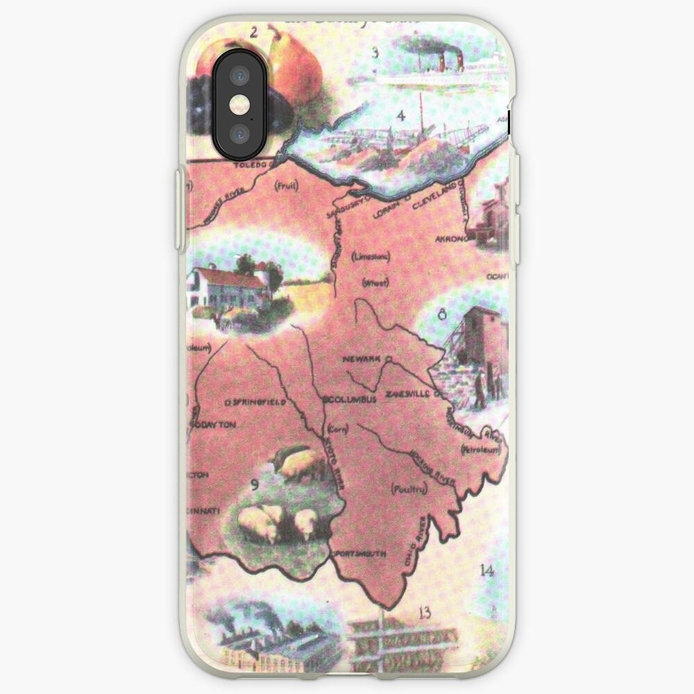 Mapa Vintage de Ohio (1921) Vinilos y fundas para iPhone