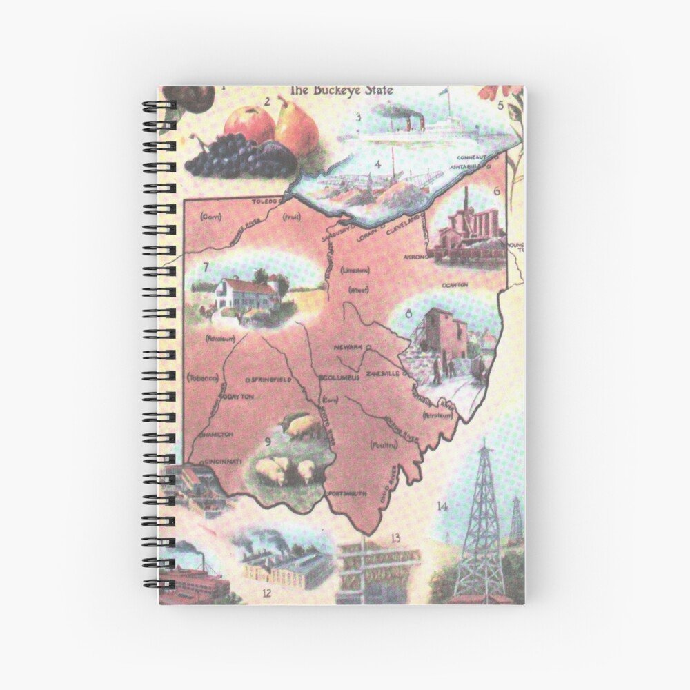 Mapa Vintage de Ohio (1921) Cuaderno de espiral