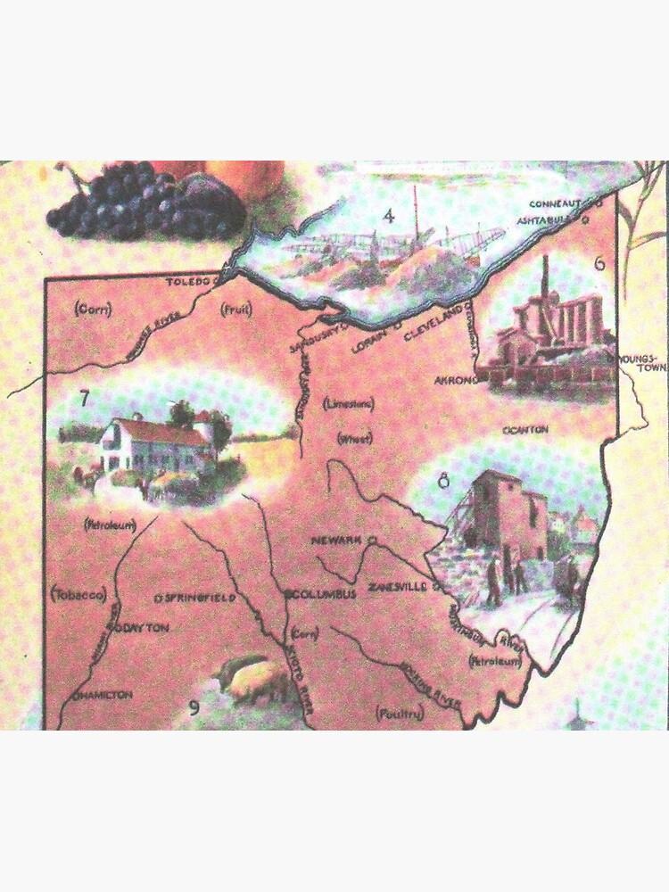 Mapa Vintage de Ohio (1921) de BravuraMedia