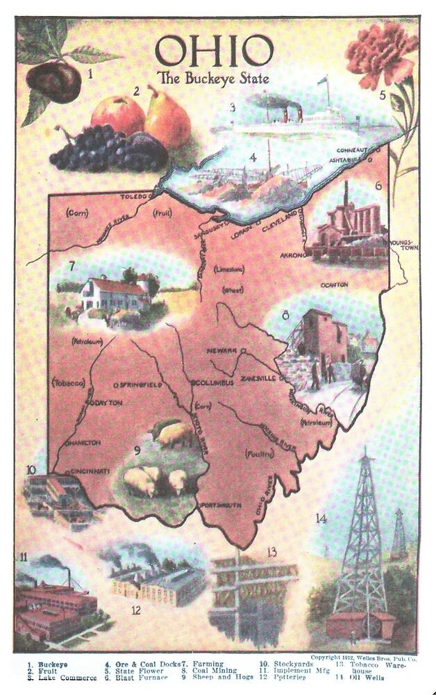 «Mapa Vintage de Ohio (1921)» de BravuraMedia