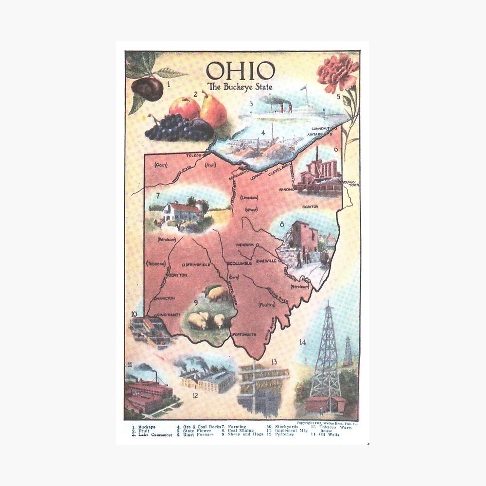 Mapa Vintage de Ohio (1921) Lámina fotográfica