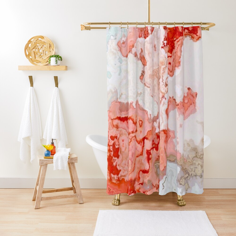 coral pink beige white marbled abstract digital art Shower Curtain