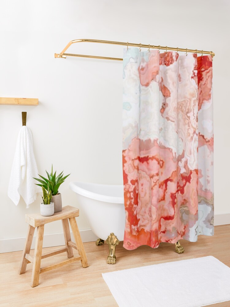 Alternate view of coral pink beige white marbled abstract digital art Shower Curtain