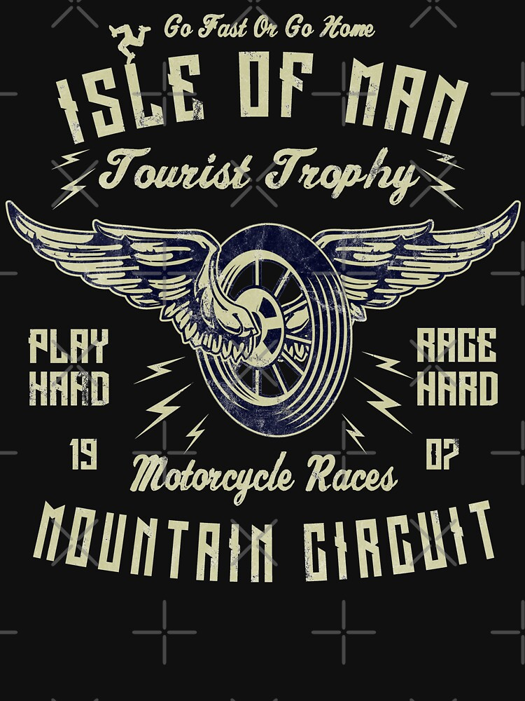Isle Of Man TT Racing Vintage Biker Wings Wheel Tourist Trophy Bike Races Retro Graphic by thespottydogg