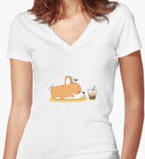 Corgi und Bubble Tea Tailliertes T-Shirt mit V-Ausschnitt