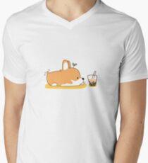 Corgi und Bubble Tea T-Shirt mit V-Ausschnitt