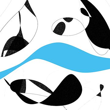 Minimalist Black and White Blue Curves Lines by oursunnycdays