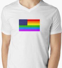 Gay USA Rainbow Flag - American LGBT Stars and Stripes T-Shirt mit V-Ausschnitt für Männer