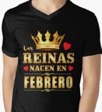 Camiseta para hombre de cuello en v Reinas nacen en febrero Cumpleanos