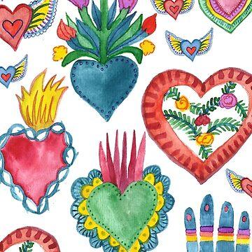 Sacred Hearts Milagros Watercolor Pattern by shoshannahscrib