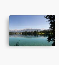 Canada Lake In Rocky Mountains Canvas Print