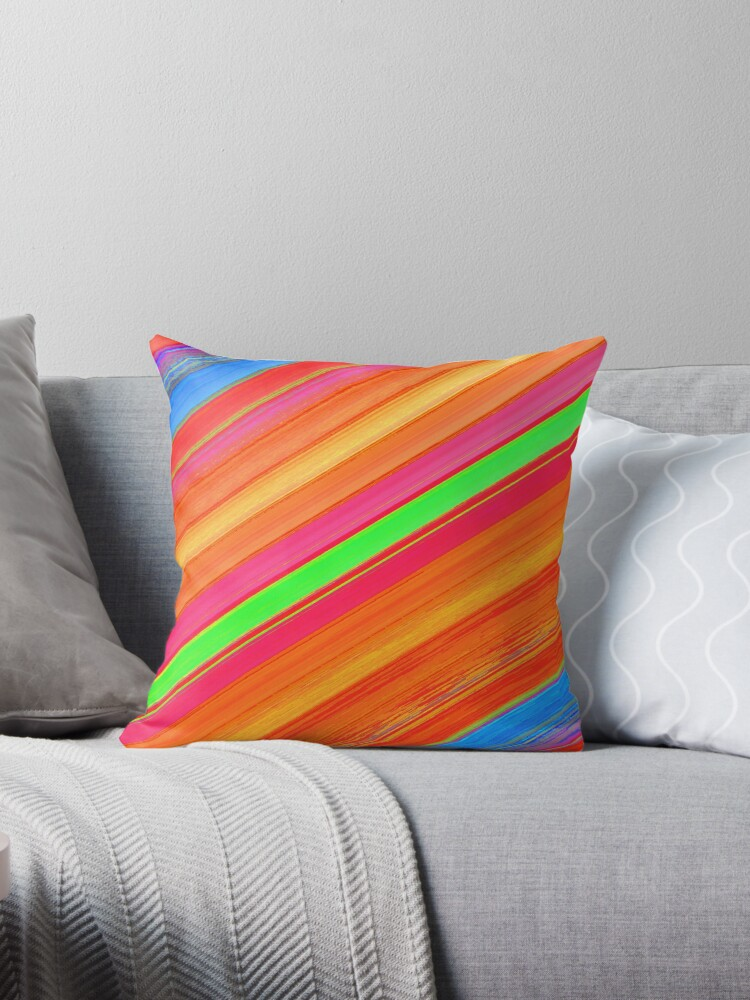 Beautiful Cushions/ Colours Abound Stripes2 by ozcushionstoo