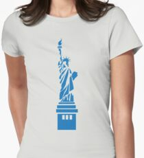 The Statue of Liberty, New York, America, Silhouette Womens Fitted T-Shirt