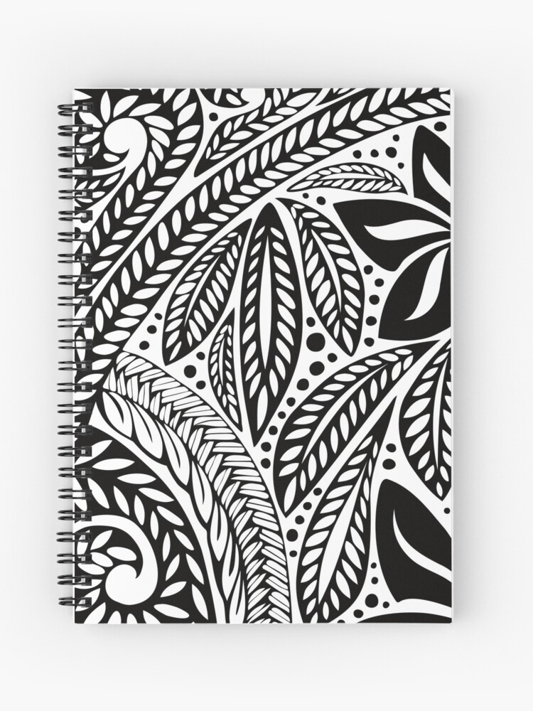 813e77a84 Black Polynesian flower floral tattoo design over white background Spiral  Notebook