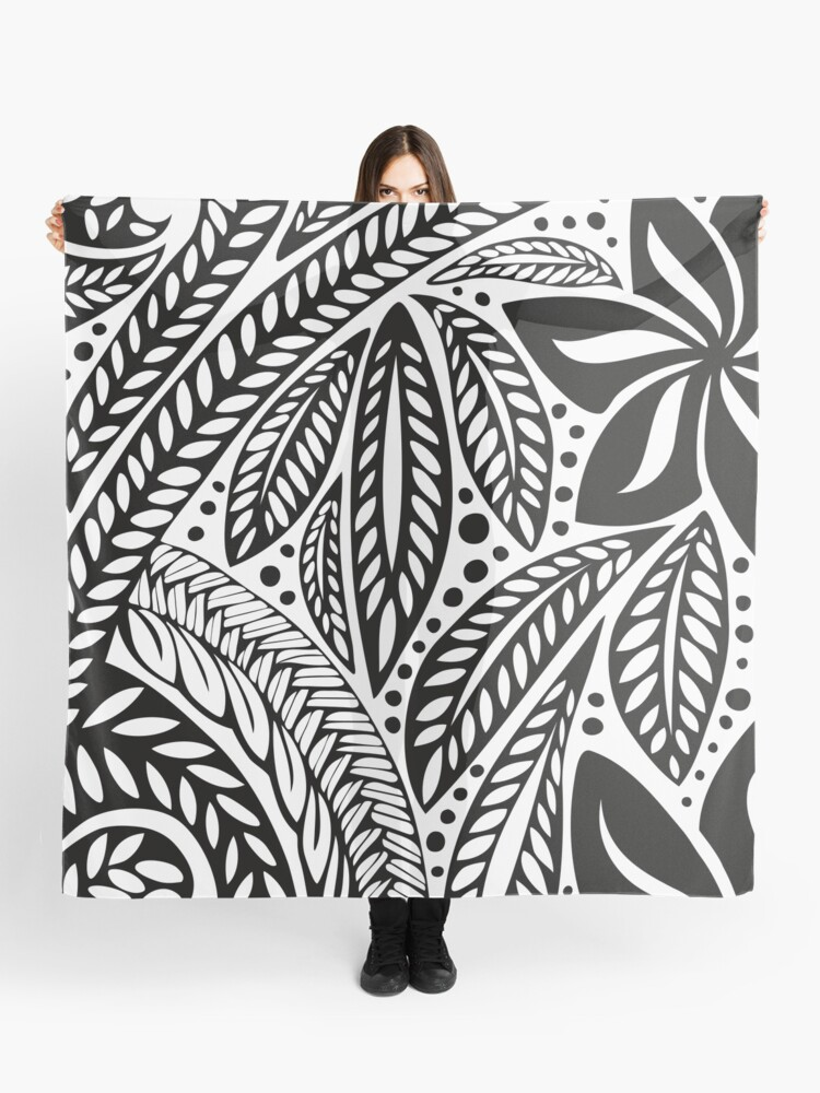 435a45e18 Black Polynesian flower floral tattoo design over white background Scarf