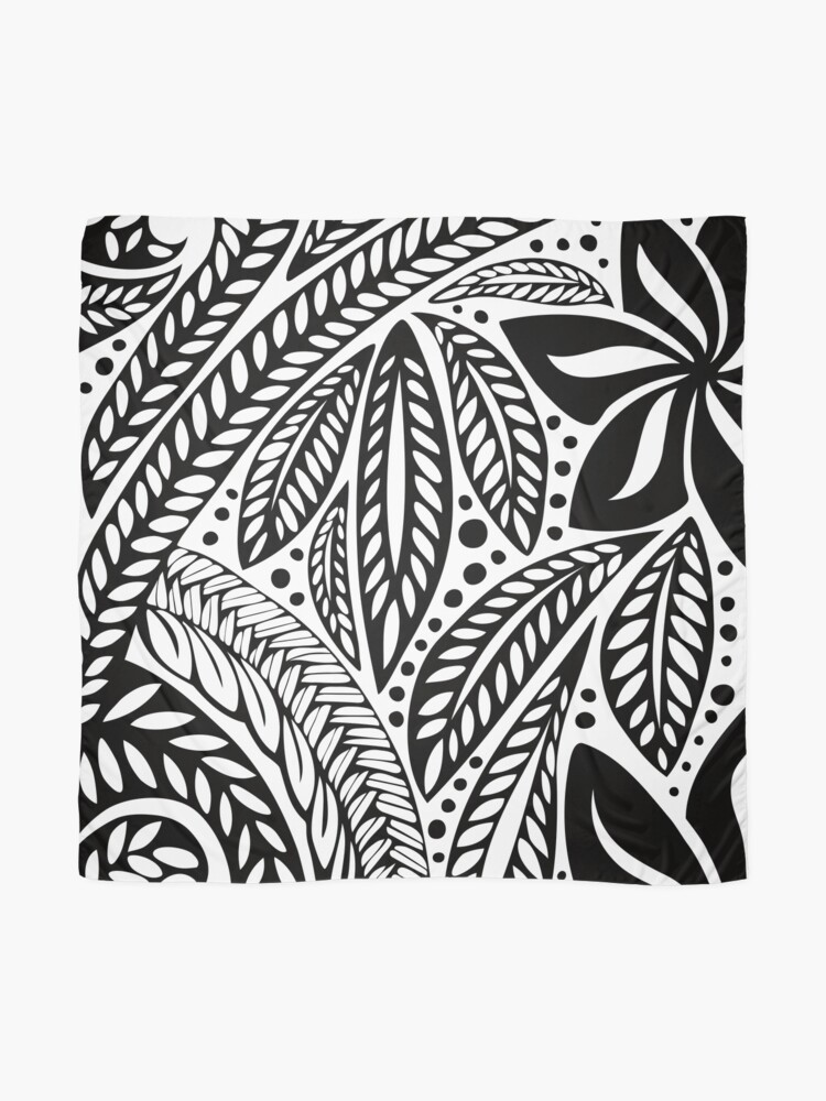 25ffbdb51 Alternate view of Black Polynesian flower floral tattoo design over white  background Scarf