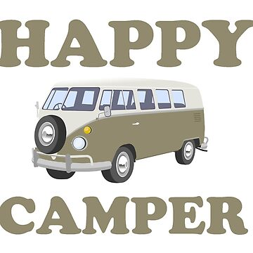 Happy Camper on White by BeachCafe