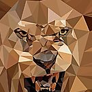 Lion Pop Art geometric abstract design in brown and gold by Angie Stimson