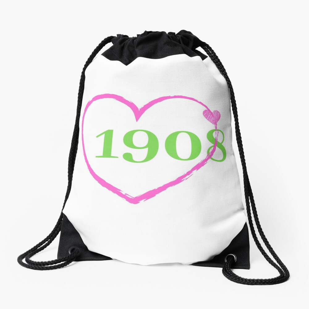 1908 Heart Drawstring Bag Front