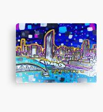 Vibrant Brisbane River Painting Canvas Print
