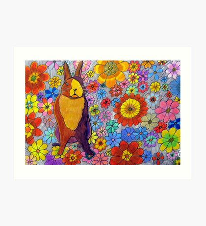 306 - FLORAL BUNNY - DAVE EDWARDS - COLOURED PENCIL & INK - 2010 Art Print