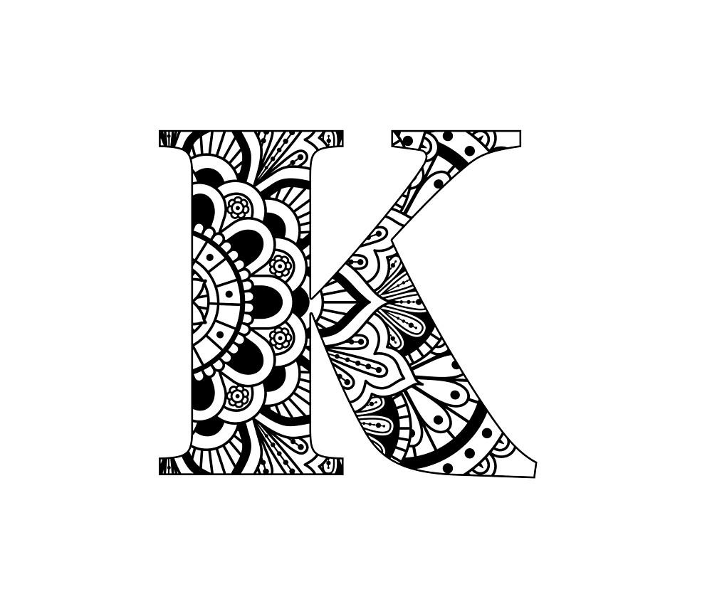 Kleurplaten Mandala Letters.Mandala Letter K By Renaissancechik Redbubble