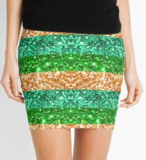 Ireland St Patrick's Day Irish Green and Gold Glitter Stripes #redbubble  Mini Skirt