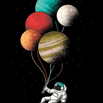 Astronaut Floating In Space With Planetary Balloons by manbird