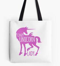 Crazy Unicorn lady in purple Tote Bag