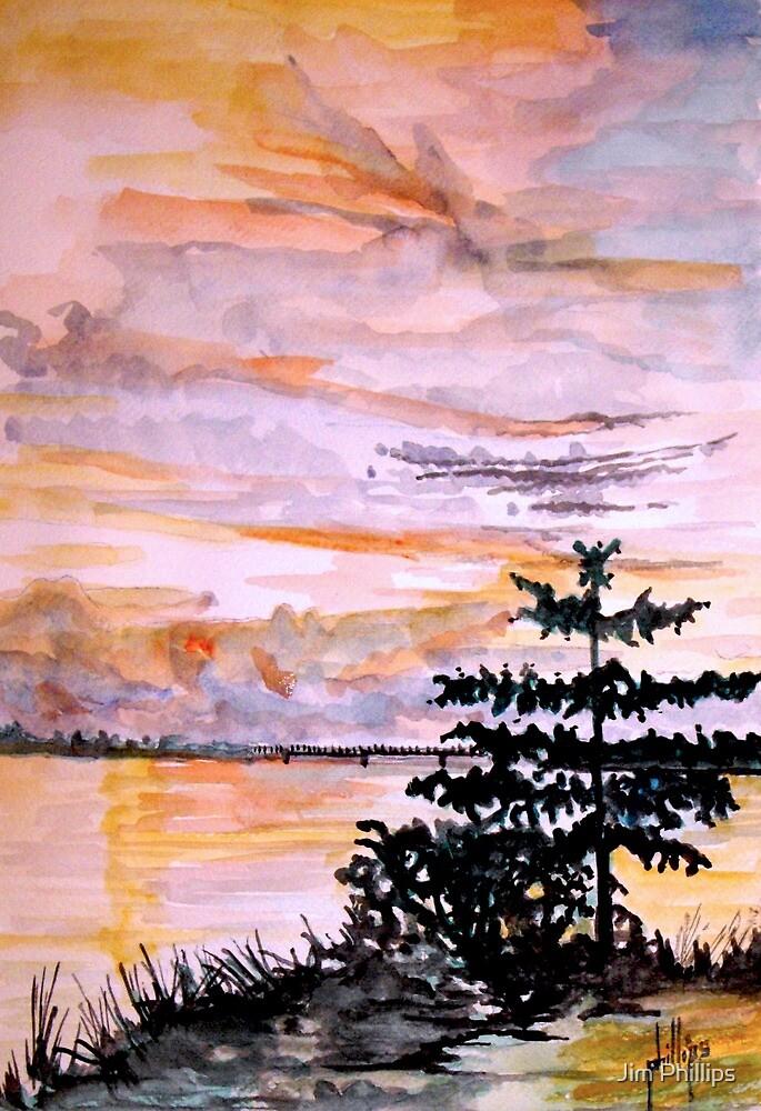 Sunset on the River Jennevira by Jim Phillips