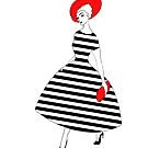 Parisienne - Black and white stripes, red hat by Ratherswell