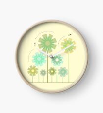 Blooming Flowers and Honey Bees Clock