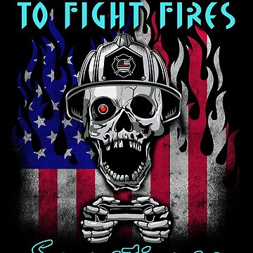 Funny Firefighter American Flag Gamer Gift by vince58