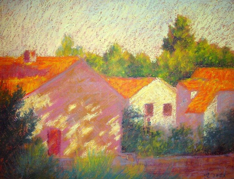 Red roofs in Croatia by Julia Lesnichy