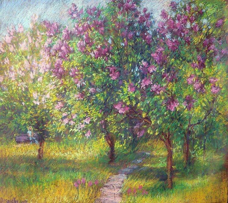 Lilac garden by Julia Lesnichy