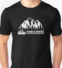 Camiseta ajustada El hogar es donde estacionas el Vanagon