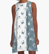 Set of 4 seamless pattern. Octopuses and crabs. A-Line Dress