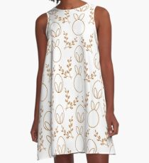 Seamless pattern. Easter Bunny ears, eggs, willow. A-Line Dress