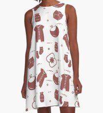 Newborn baby seamless pattern. A-Line Dress