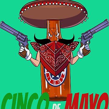 Cinco De Mayo Mexican Sombrero Beer Bottle by Nosek1ng