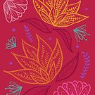 Bohemian Florals - Magenta by latheandquill