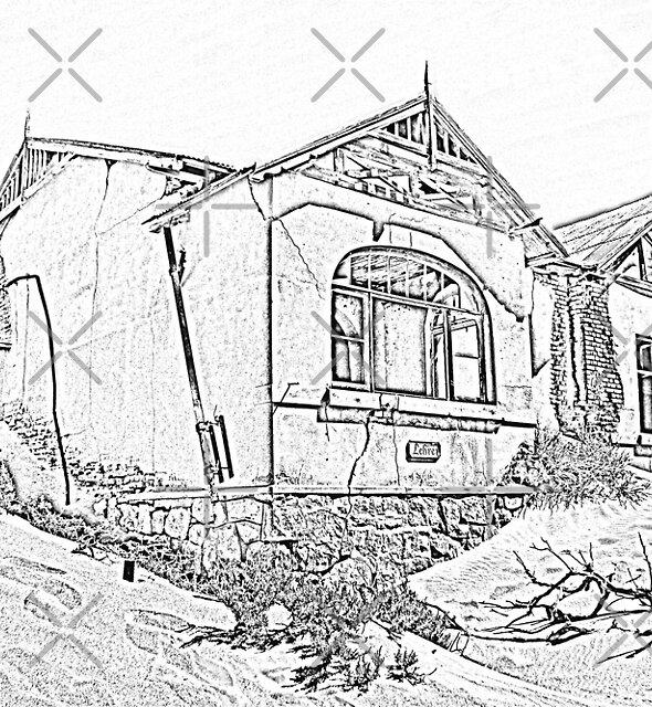 Sketch of deserted house in Kolmanskoppe by Rudi Venter