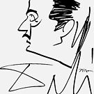 Salvador Dali Caricature by Jeff Sparks Signed By Dali, 1952 Artwork Reproduction, Prints, Posters, Bags, Tshirts, Men, Women, Youth by Art-O-Rama ®