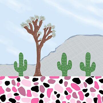 Desert Joshua Tree Cactus Landscape Terrazzo by oursunnycdays