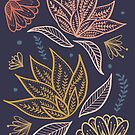 Bohemian Florals - Blue + Coral by latheandquill