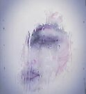 Unique wall art design, an ethereal portrait in purple, a woman,a stormy day, reflective and contemplative  by Angie Stimson
