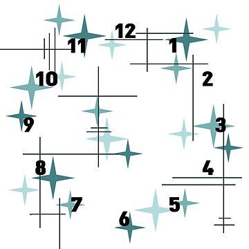 Mid Century Modern Stars (Teal) Clock 1 by thepixelgarden