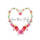 Love Never Fails Scripture in Watercolor Floral Heart by DreamOutLoudArt