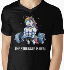 Der Kampf ist reales Einhorn-T-Shirt für Sport-Liebe T-Shirt mit V-Ausschnitt für Männer