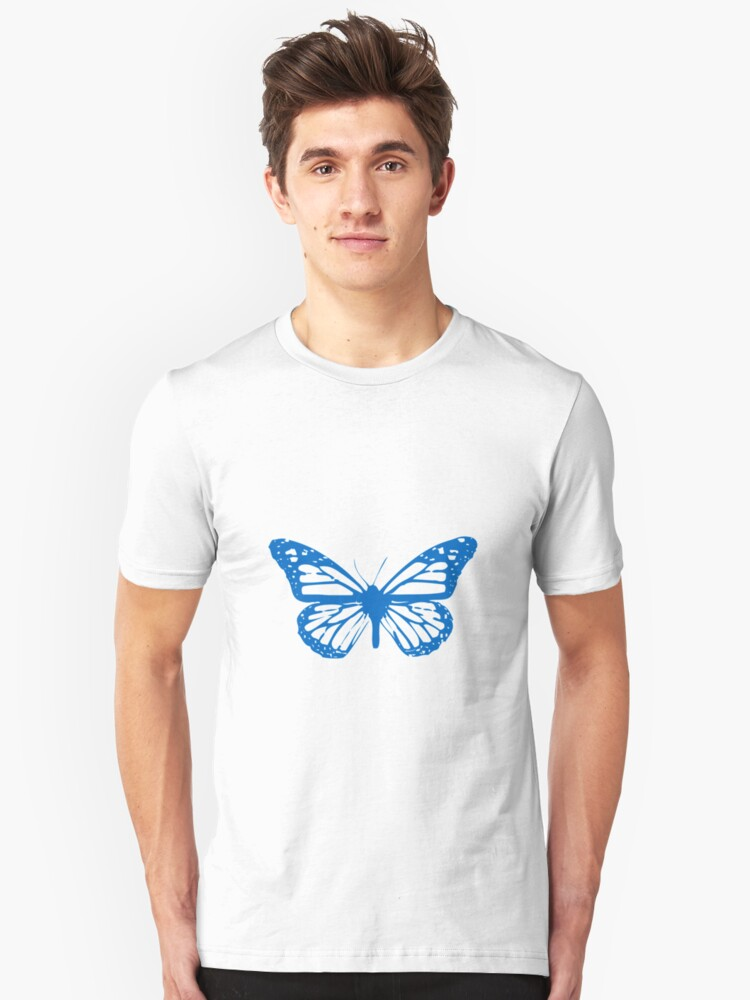 Blue Butterfly - Vector Art Unisex T-Shirt Front
